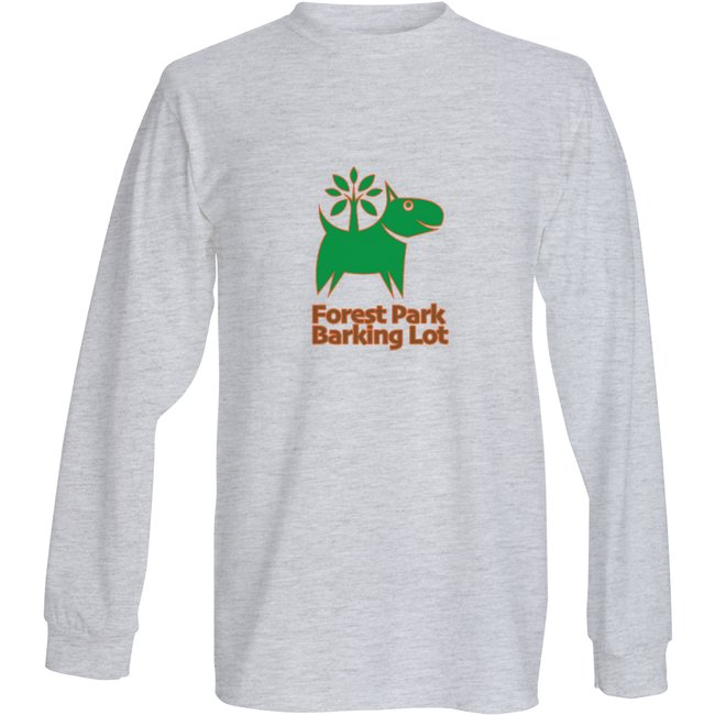 Long sleeve shirt with Forest Park Barking Lot logo in the center