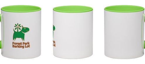 White mug with green interior featuring with FPBL logo